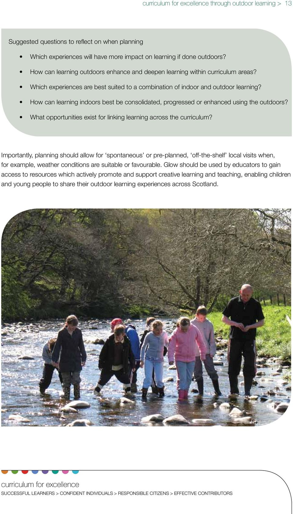 How can learning indoors best be consolidated, progressed or enhanced using the outdoors? What opportunities exist for linking learning across the curriculum?