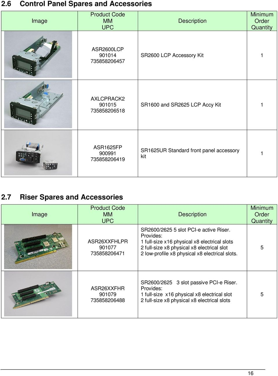 7 Riser Spares and Accessories ASR26XXFHLPR 90077 73585820647 SR2600/2625 5 slot PCI-e active Riser.