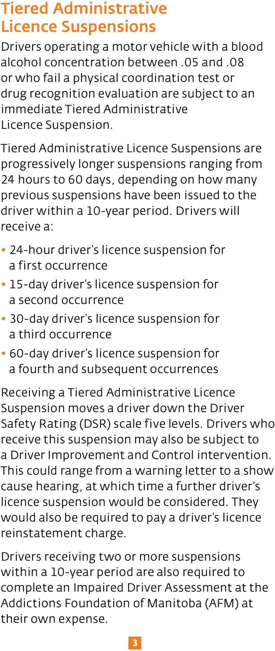 Tiered Administrative Licence Suspensions are progressively longer suspensions ranging from 24 hours to 60 days, depending on how many previous suspensions have been issued to the driver within a