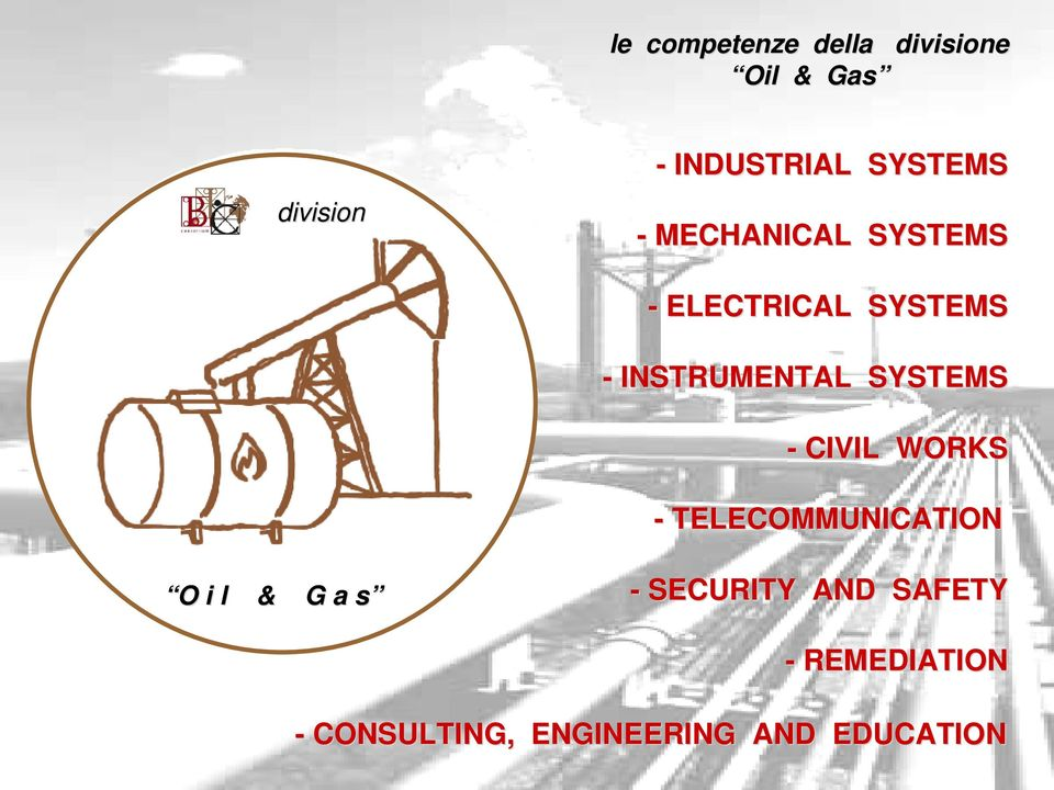 SYSTEMS - CIVIL WORKS - TELECOMMUNICATION O O i l & G a s s -