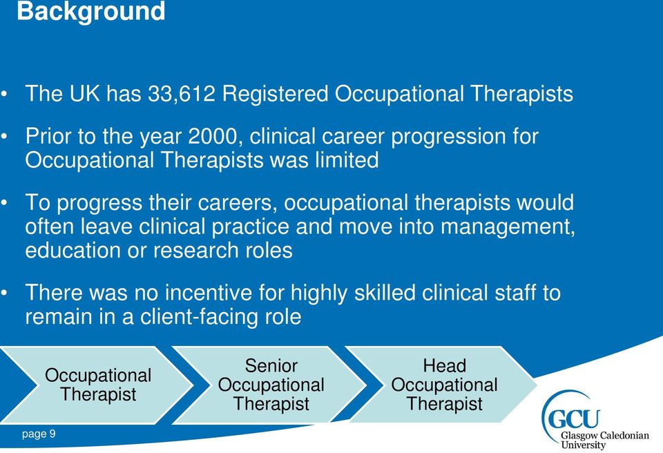 practice and move into management, education or research roles There was no incentive for highly skilled clinical