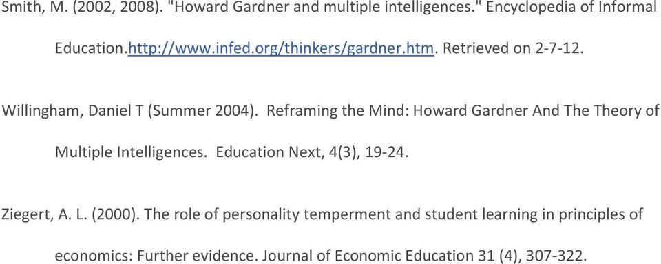 Reframing the Mind: Howard Gardner And The Theory of Multiple Intelligences. Education Next, 4(3), 19-24. Ziegert, A. L.