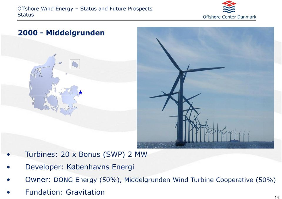 Owner: DONG Energy (50%), Middelgrunden Wind