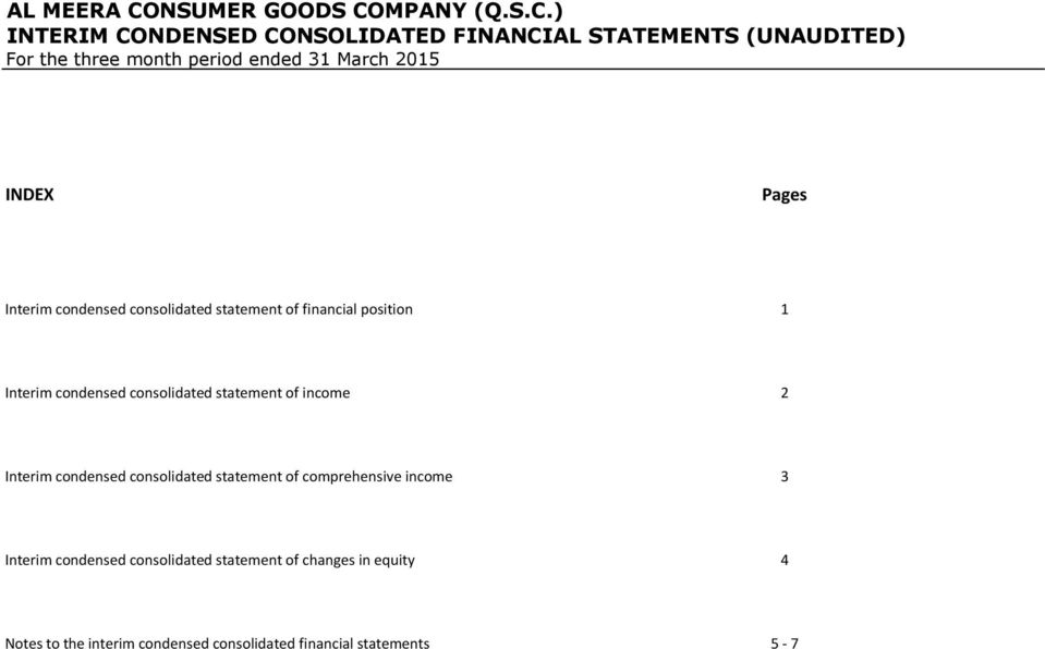 statement of income 2 Interim condensed consolidated statement of comprehensive income 3 Interim condensed