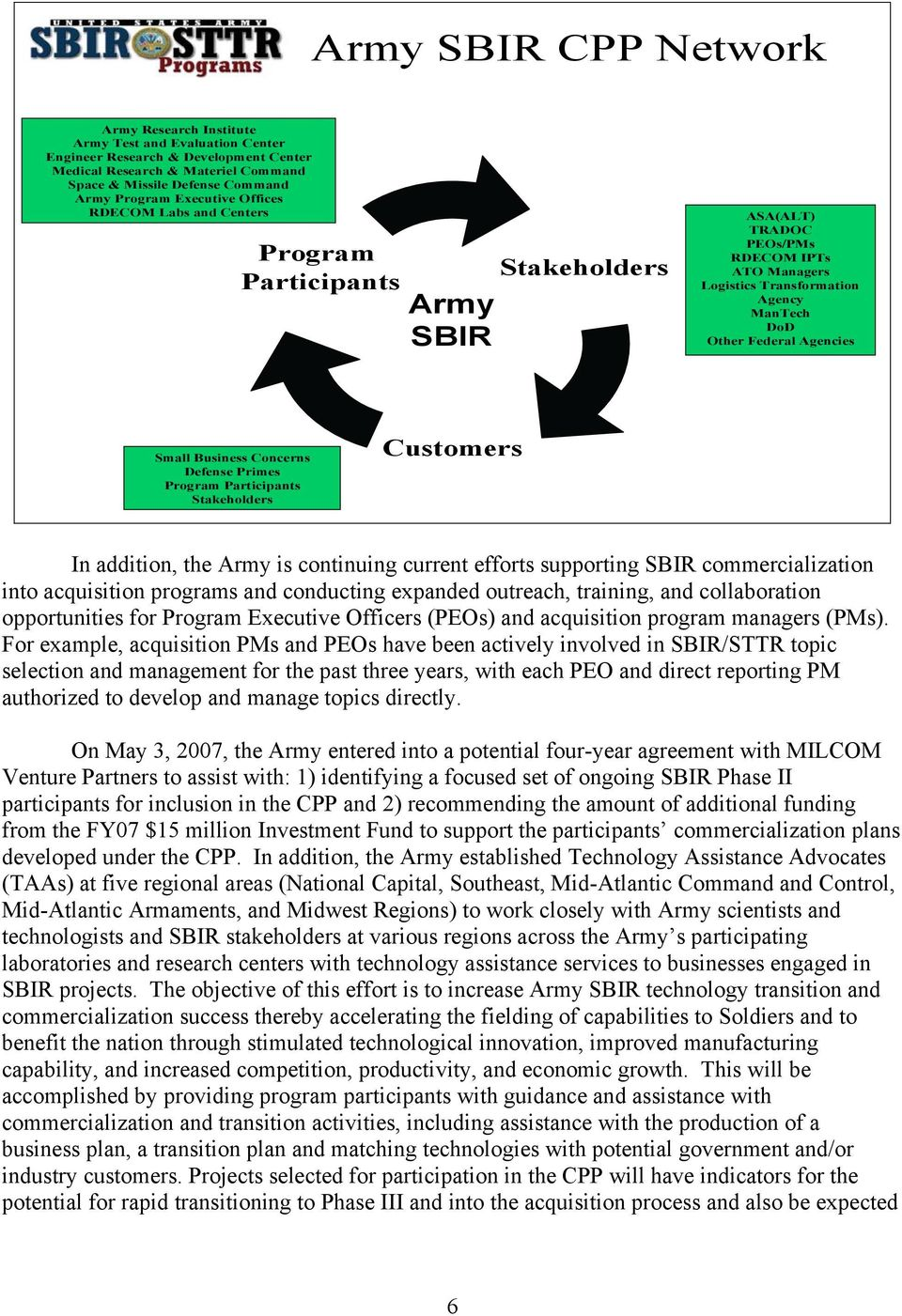 Agencies Small Business Concerns Defense Primes Program Participants Stakeholders Customers In addition, the Army is continuing current efforts supporting SBIR commercialization into acquisition