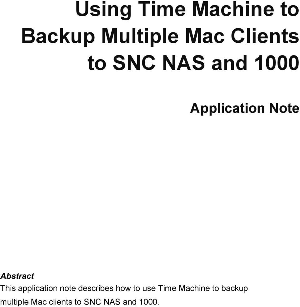 application note describes how to use Time Machine