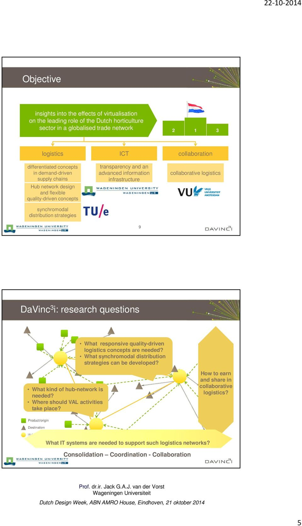 logistics 9 DaVinc 3 i: research questions What responsive quality-driven logistics concepts are needed? What synchromodal distribution strategies can be developed? What kind of hub-network is needed?