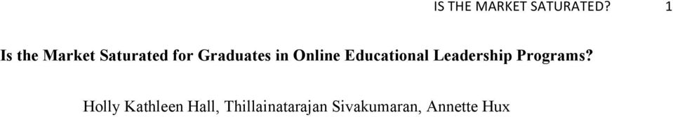 Online Educational Leadership Programs?