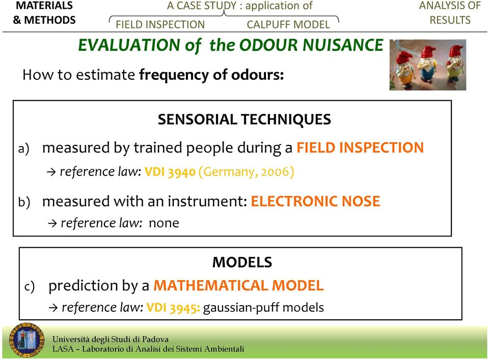 (Germany, 2006) b) measured with an instrument: ELECTRONIC NOSE reference law: