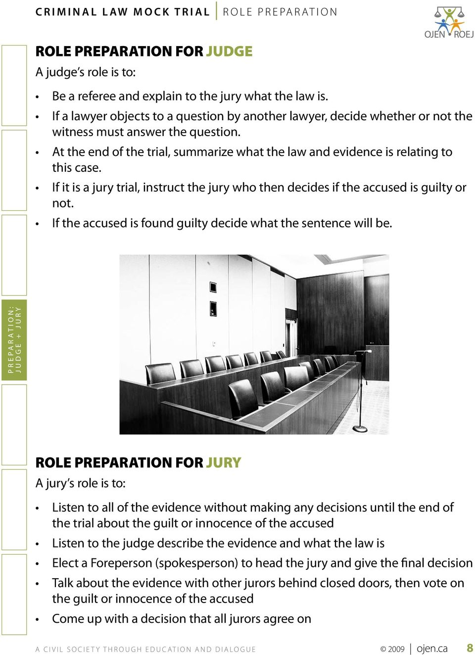 If it is a jury trial, instruct the jury who then decides if the accused is guilty or not. If the accused is found guilty decide what the sentence will be.