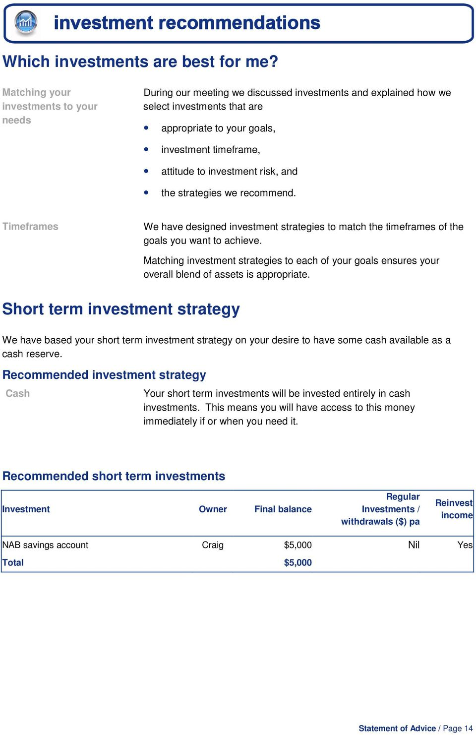 investment risk, and the strategies we recommend. Timeframes We have designed investment strategies to match the timeframes of the goals you want to achieve.