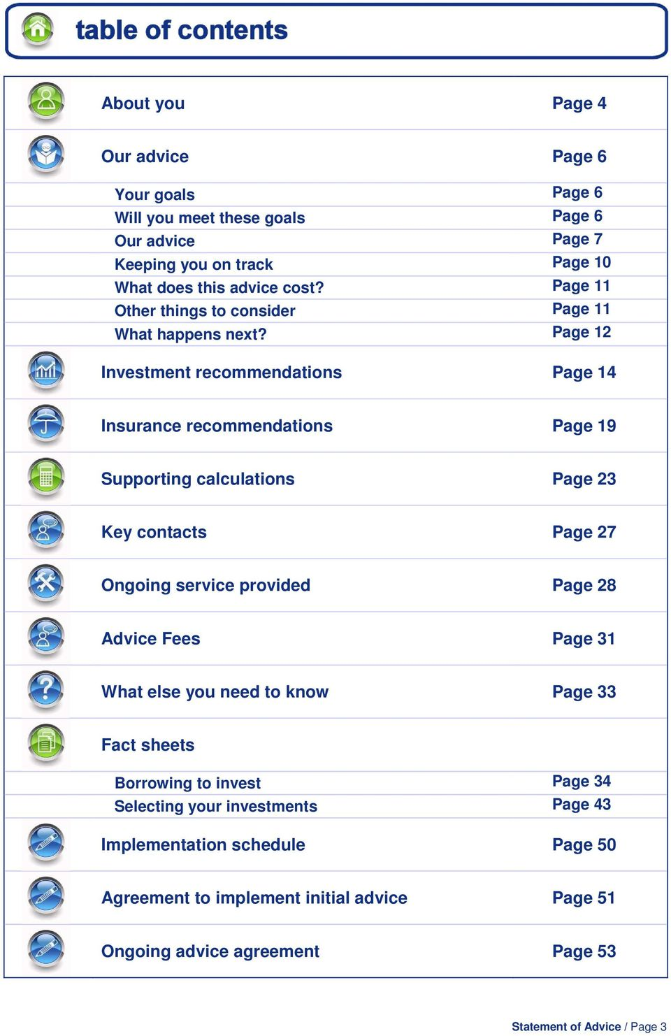 Page 12 Investment recommendations Page 14 Insurance recommendations Page 19 Supporting calculations Page 23 Key contacts Page 27 Ongoing service provided Page 28