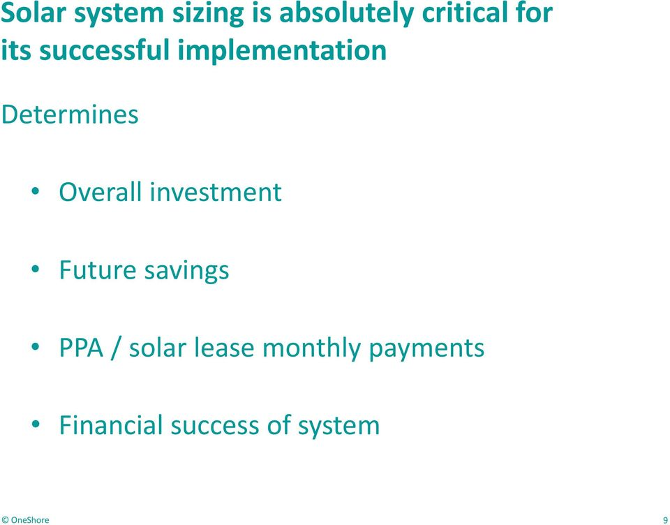 Overall investment Future savings PPA / solar