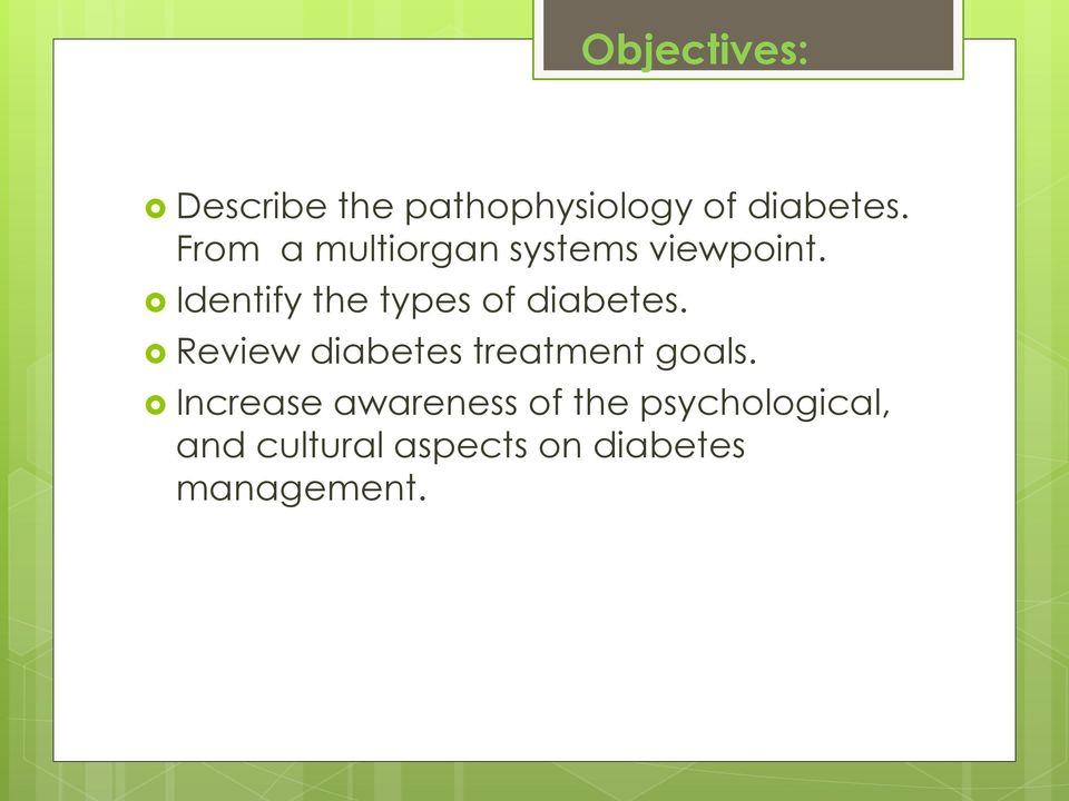 Identify the types of diabetes.