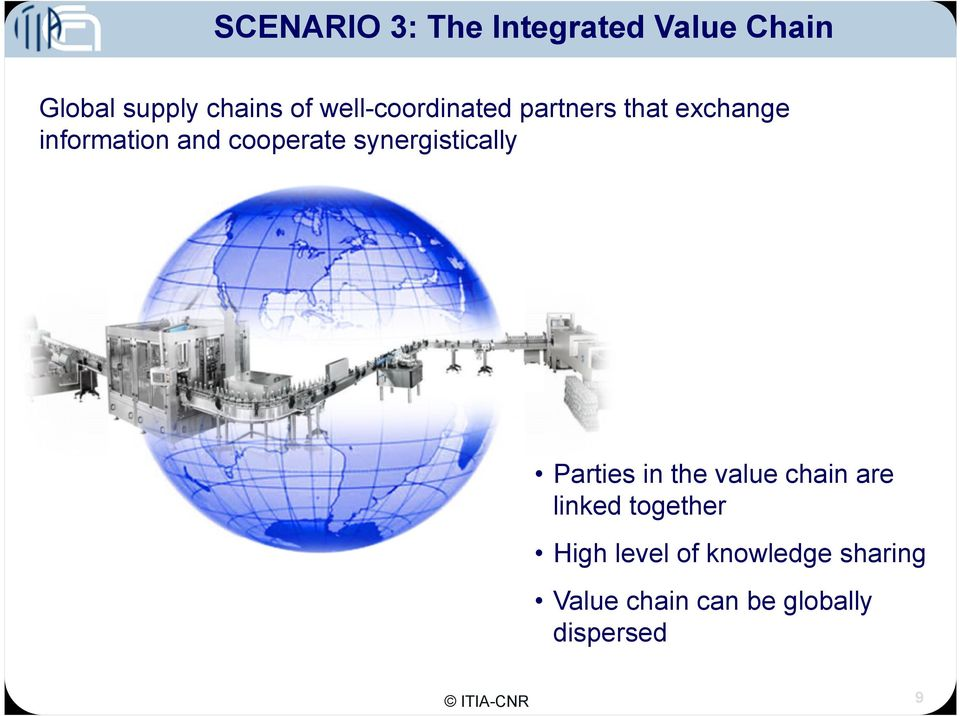 synergistically Parties in the value chain are linked together