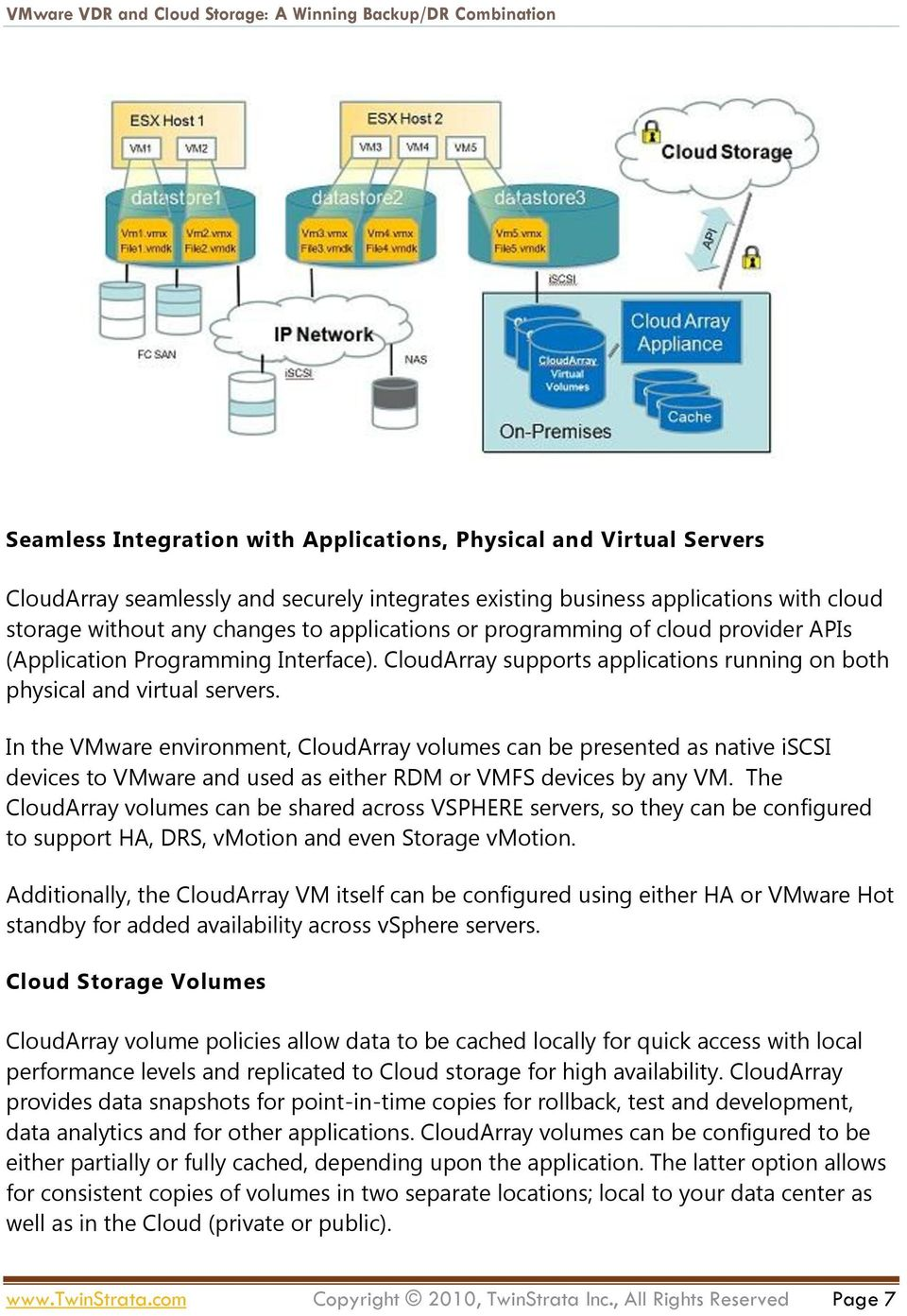 In the VMware environment, CloudArray volumes can be presented as native iscsi devices to VMware and used as either RDM or VMFS devices by any VM.