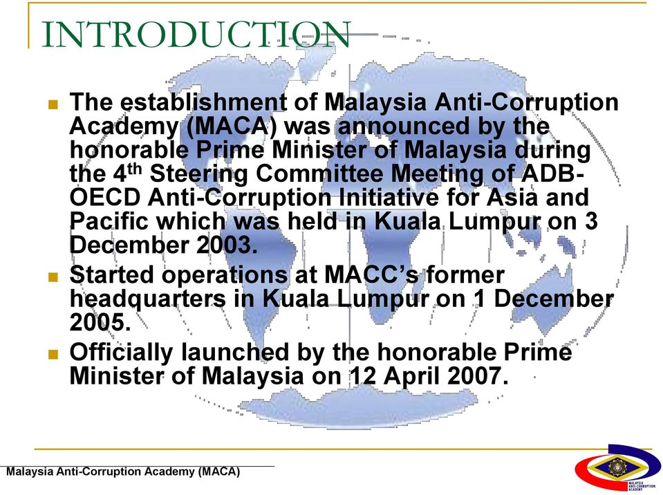 and Pacific which was held in Kuala Lumpur on 3 December 2003.