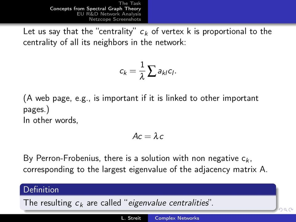 ) In other words, Ac = λc By Perron-Frobenius, there is a solution with non negative c k, corresponding to the largest eigenvalue of the