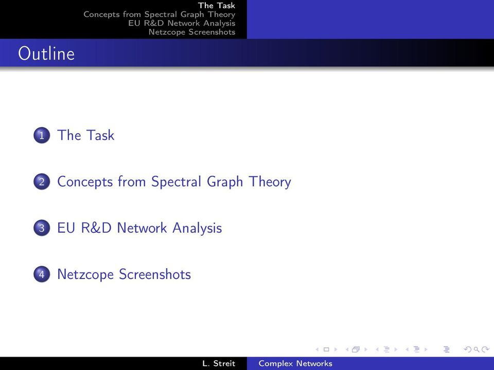 Concepts from Spectral Graph Theory 3 EU R&D Network