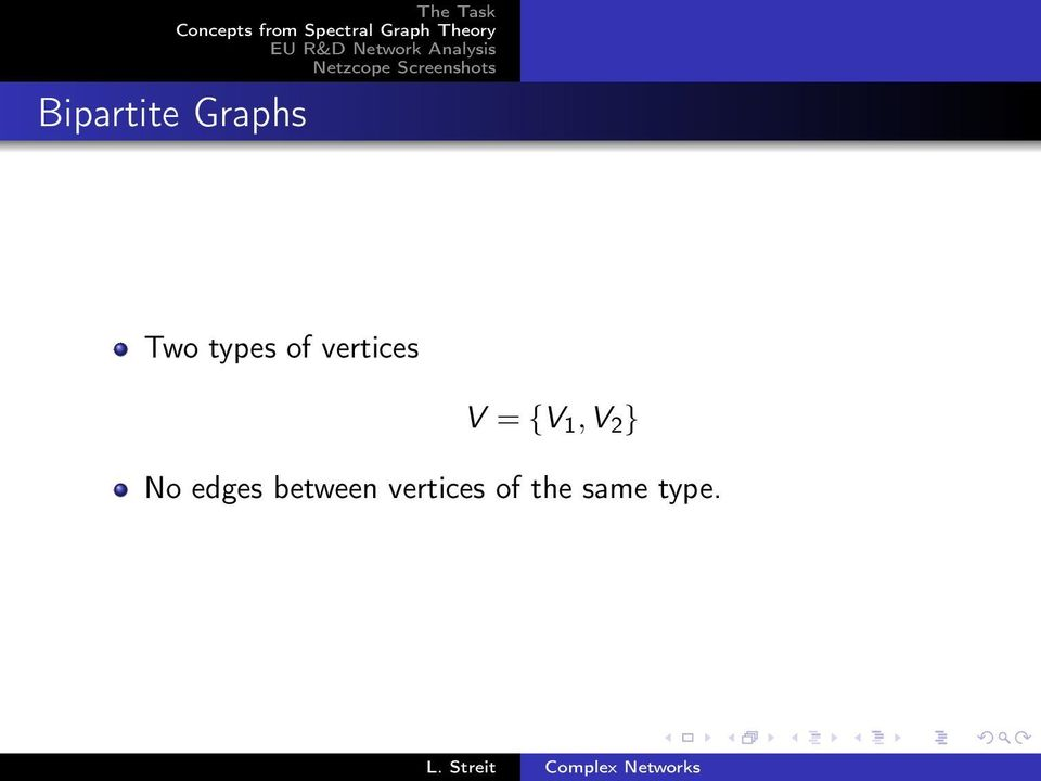 Graphs Two types of vertices V = {V 1,V 2 } No edges