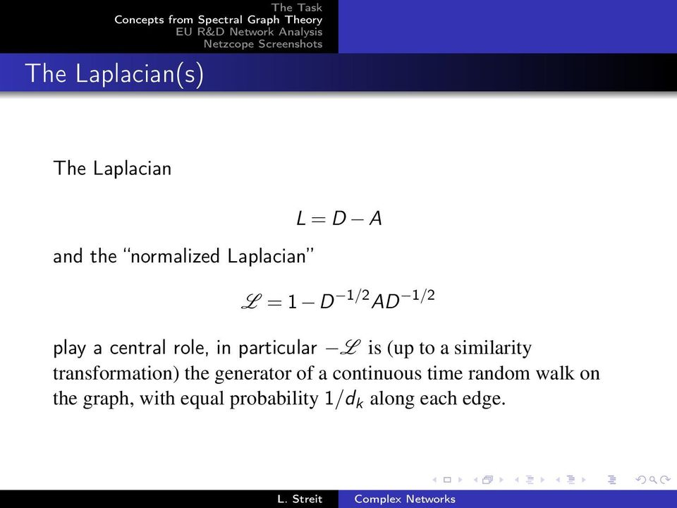 central role, in particular L is (up to a similarity transformation) the generator of a