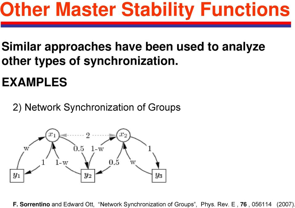 EXAMPLES 2) Network Synchronization of Groups F.