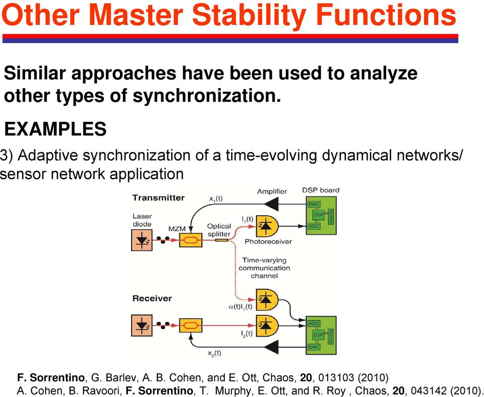 EXAMPLES 3) Adaptive synchronization of a time-evolving dynamical networks/ sensor network