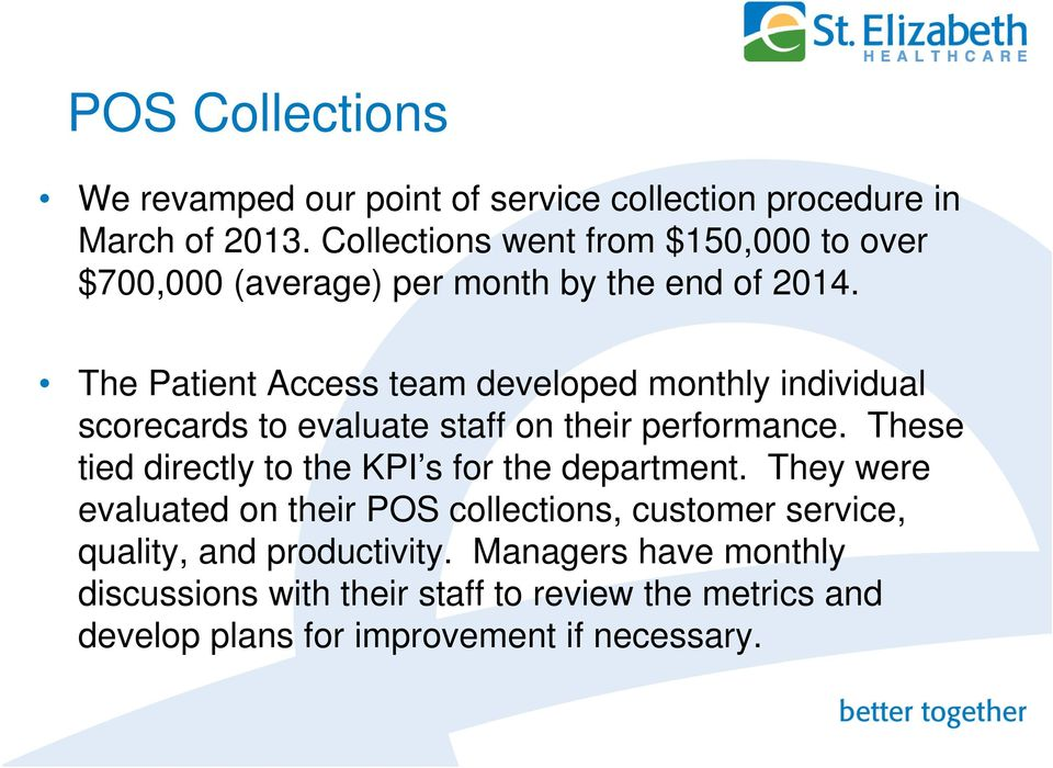 The Patient Access team developed monthly individual scorecards to evaluate staff on their performance.