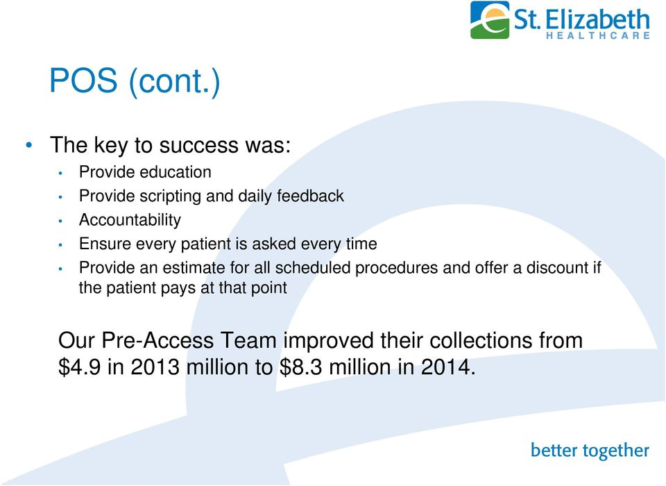 Accountability Ensure every patient is asked every time Provide an estimate for all