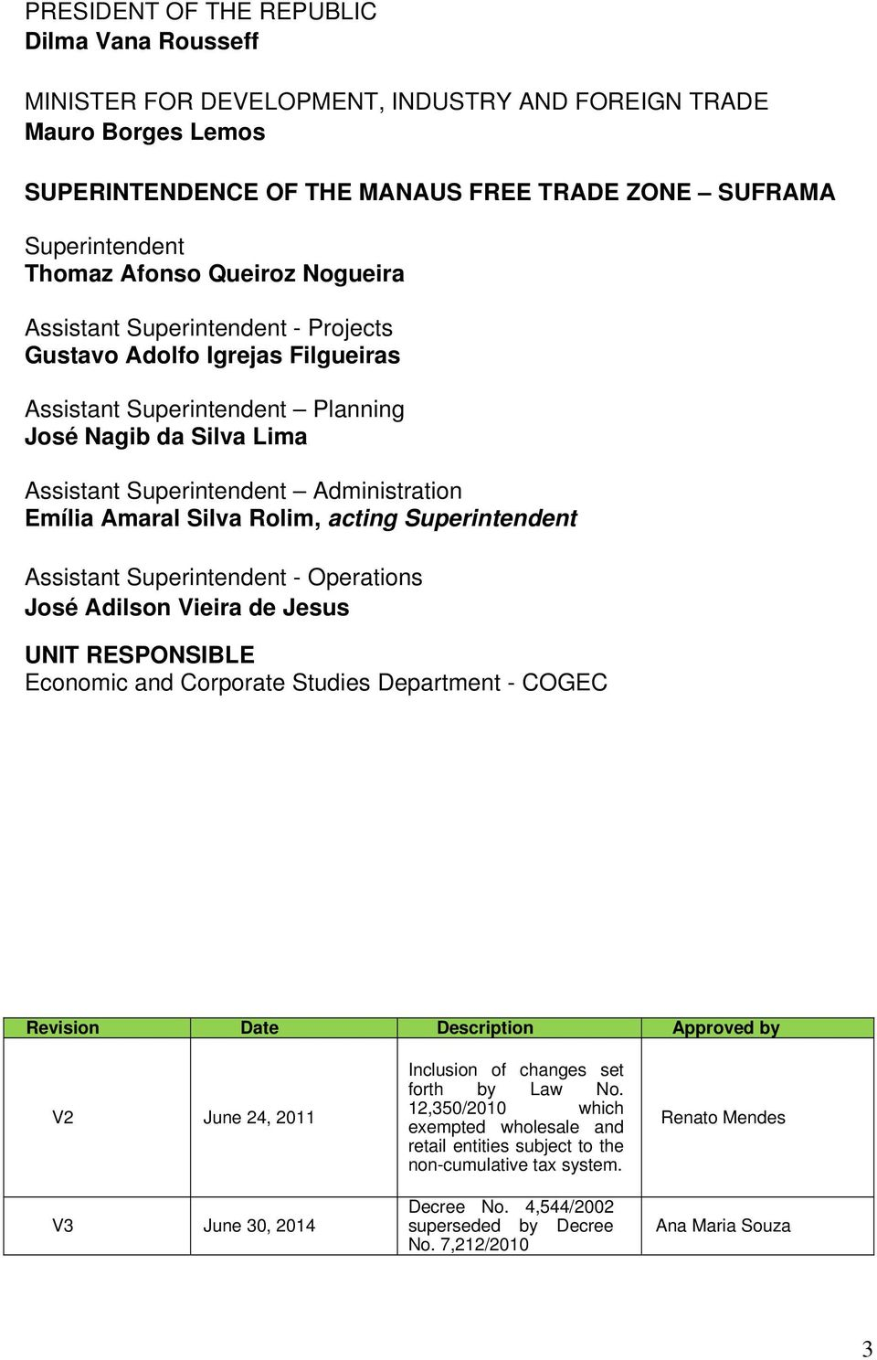 Amaral Silva Rolim, acting Superintendent Assistant Superintendent - Operations José Adilson Vieira de Jesus UNIT RESPONSIBLE Economic and Corporate Studies Department - COGEC Revision Date