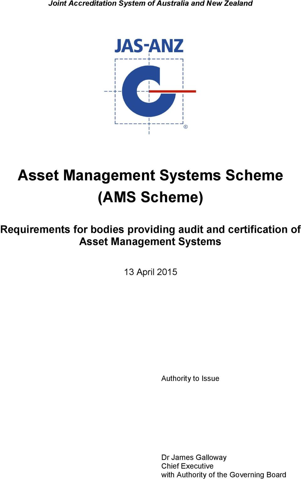 and certification of 13 April 2015 Authority to Issue Dr