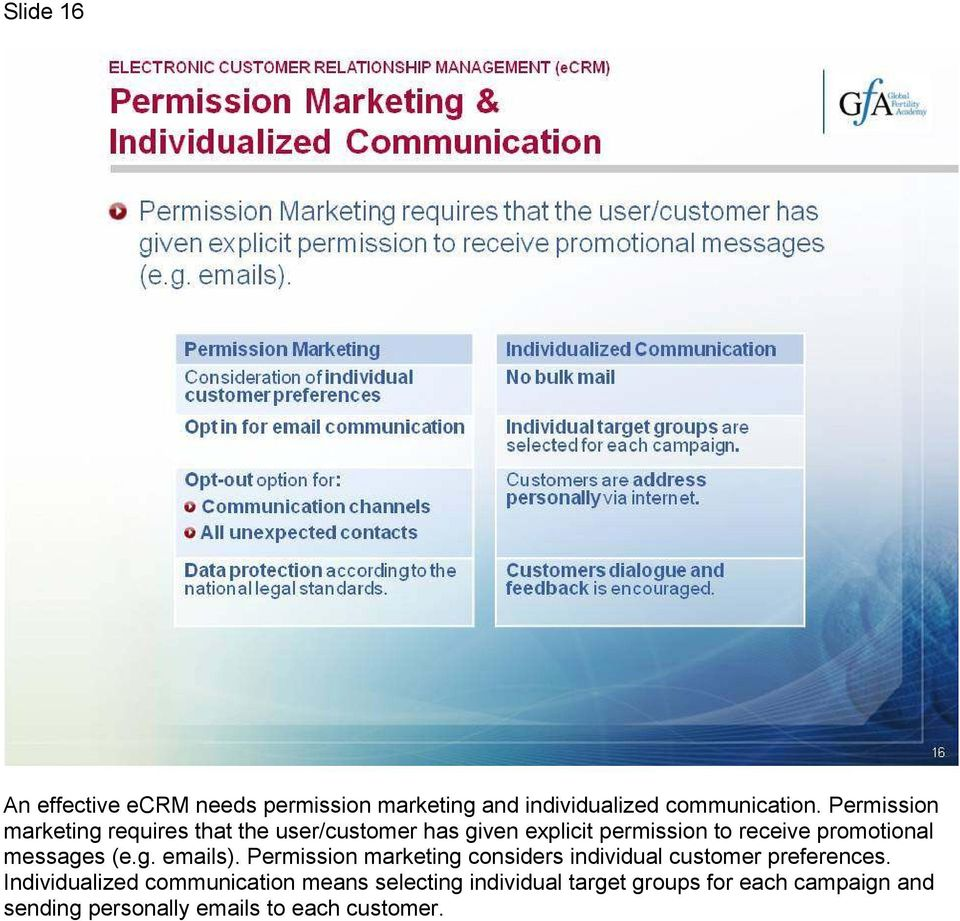 promotional messages (e.g. emails). Permission marketing considers individual customer preferences.