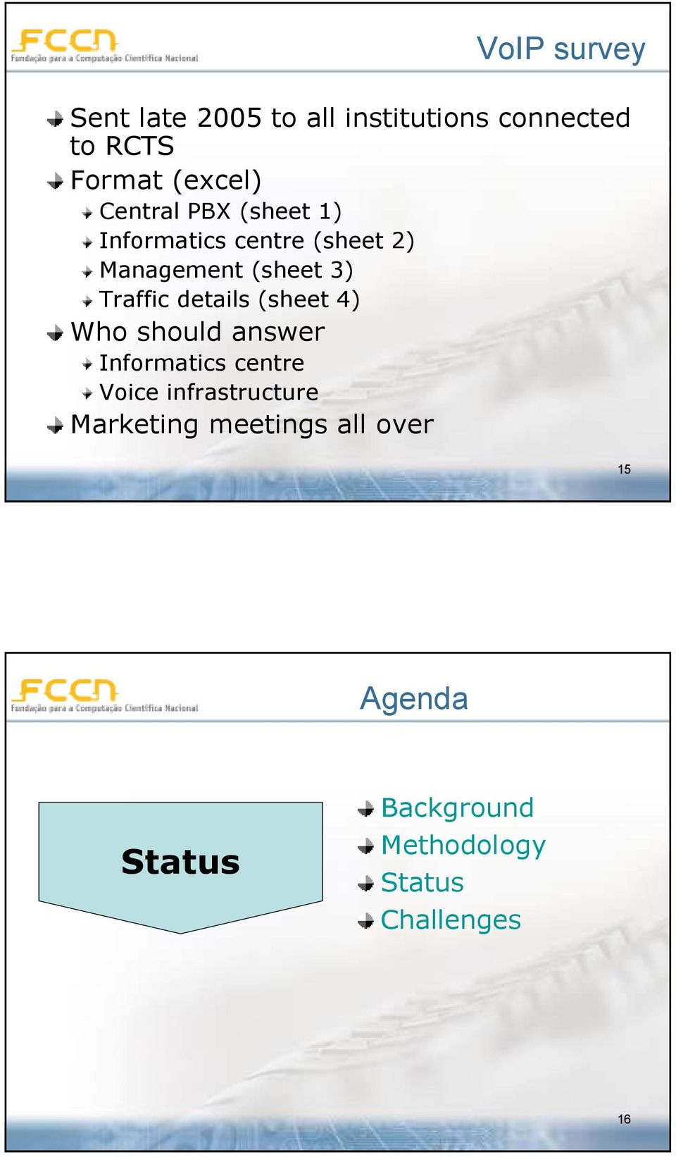 details (sheet 4) Who should answer Informatics centre Voice infrastructure