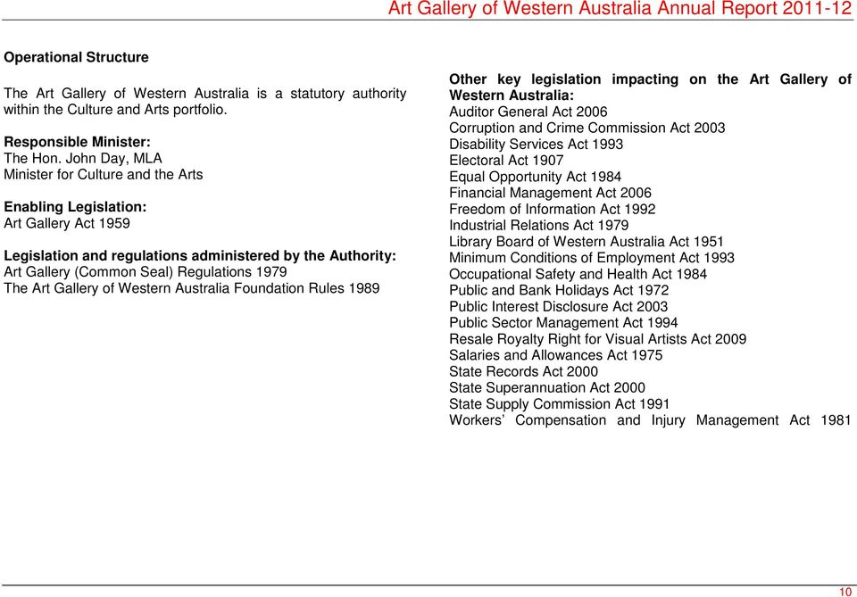 Art Gallery of Western Australia Foundation Rules 1989 Other key legislation impacting on the Art Gallery of Western Australia: Auditor General Act 2006 Corruption and Crime Commission Act 2003