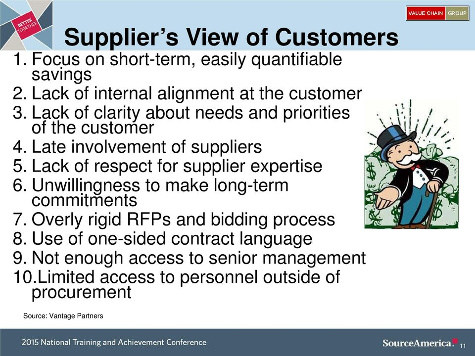 Lack of respect for supplier expertise 6. Unwillingness to make long-term commitments 7. Overly rigid RFPs and bidding process 8.