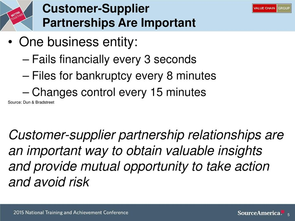 Source: Dun & Bradstreet Customer-supplier partnership relationships are an important