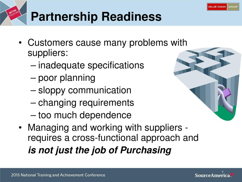 requirements too much dependence Managing and working with suppliers -