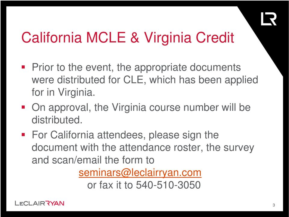 On approval, the Virginia course number will be distributed.