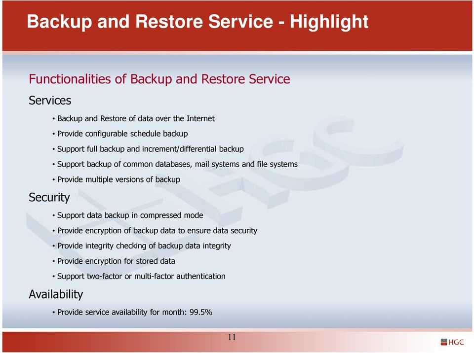multiple versions of backup Support data backup in compressed mode Provide encryption of backup data to ensure data security Provide integrity checking of