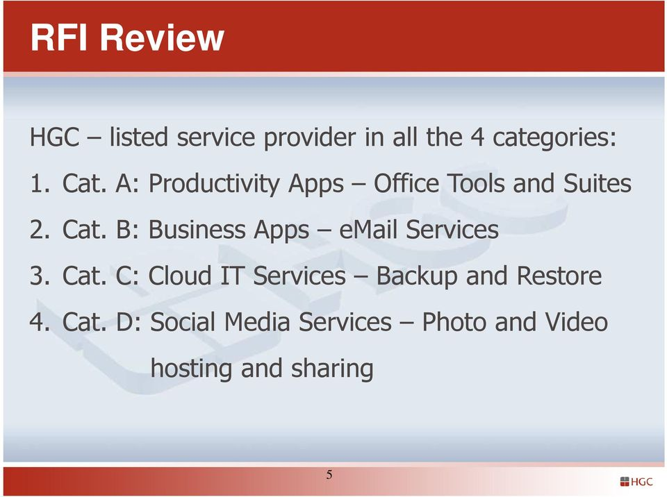 B: Business Apps email Services 3. Cat.