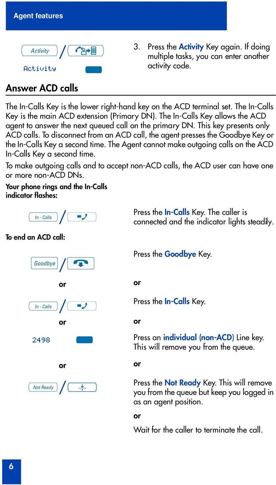 The In-Calls Key allows the ACD agent to answer the next queued call on the primary DN. This key presents only ACD calls.