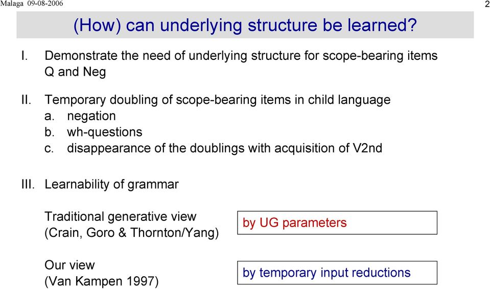 Temporary doubling of scope-bearing items in child language a. negation b. wh-questions c.
