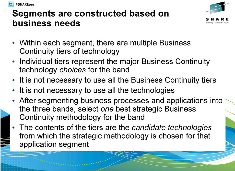 necessary to use all the technologies After segmenting business processes and applications into the three bands, select one best strategic Business