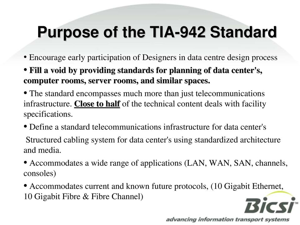 Close to half of the technical content deals with facility specifications.
