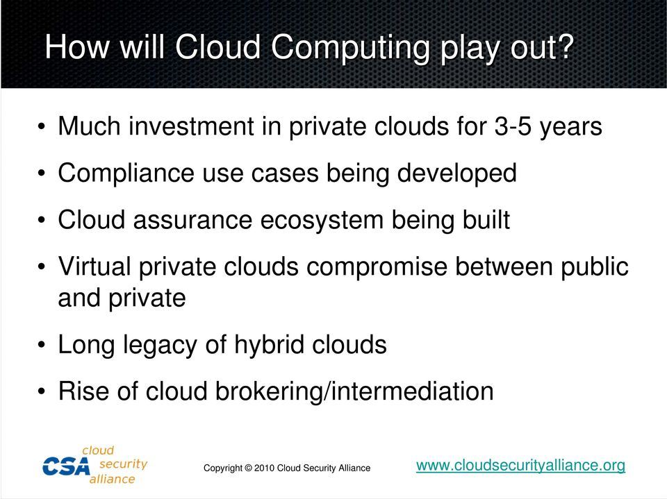 being developed Cloud assurance ecosystem being built Virtual private