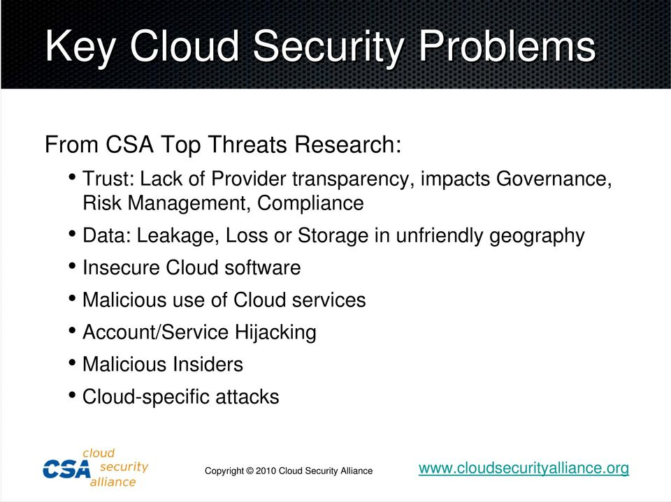 Leakage, Loss or Storage in unfriendly geography Insecure Cloud software