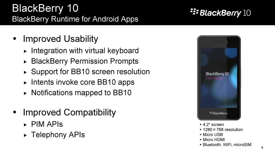 Intents invoke core BB10 apps Notifications mapped to BB10 Improved Compatibility PIM