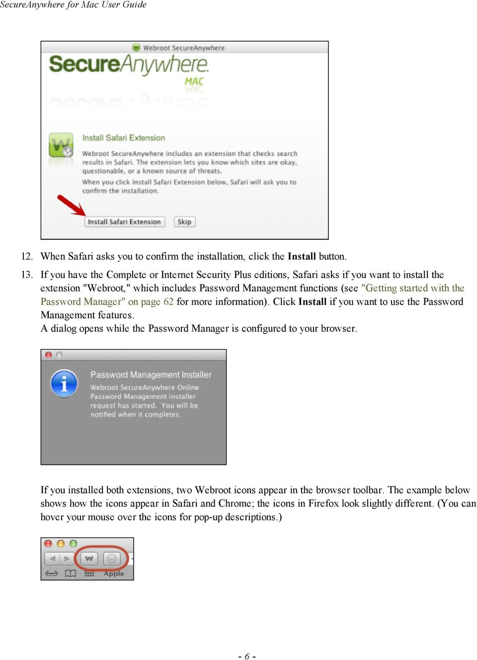 "the Password Manager"" on page 62 for more information). Click Install if you want to use the Password Management features."