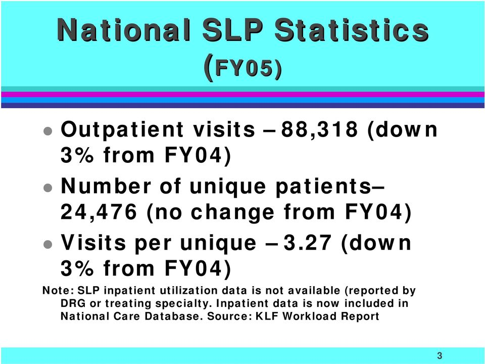 27 (down 3% from FY04) Note: SLP inpatient utilization data is not available (reported by