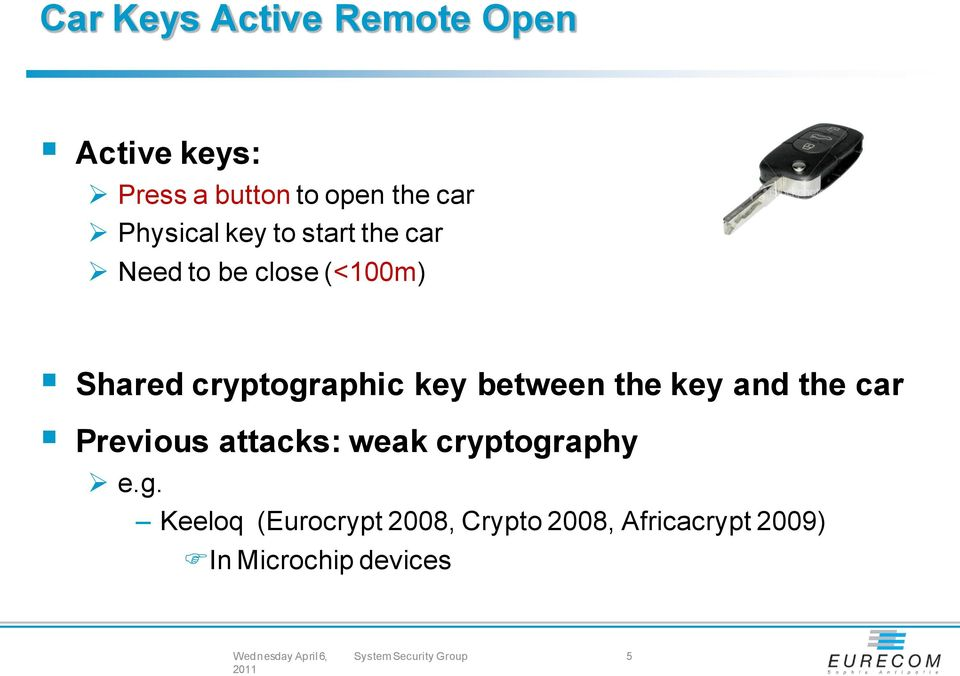 between the key and the car Previous attacks: weak cryptogr